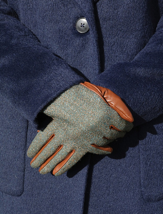 Ladies Kerry Tweed & Leather Gloves - Moss Green