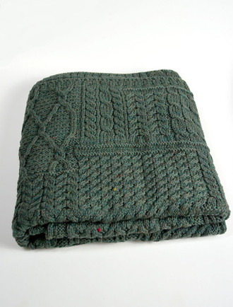Merino Aran Patchwork Throw - Connemara Green
