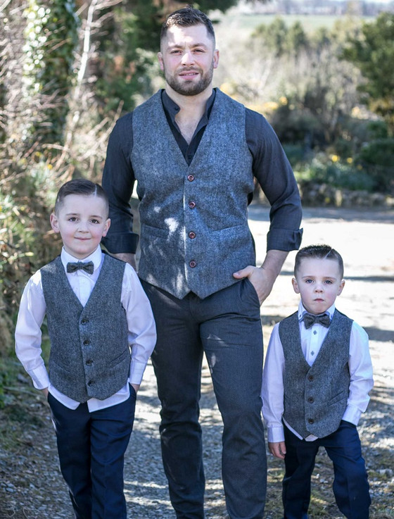 Boys Grey Herringbone Irish Tweed Waistcoat