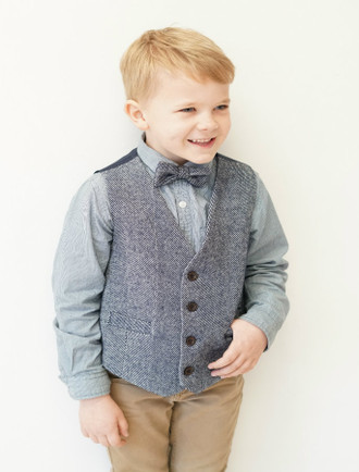 Boys Navy Herringbone Irish Tweed Waistcoat