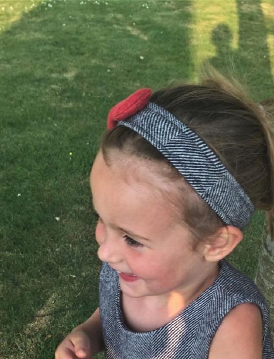 Girls Irish Tweed Hairband Navy Herringbone with Raspberry Bow