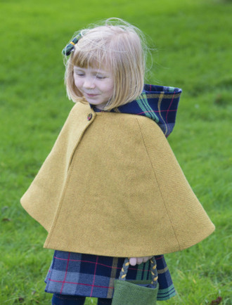 Girls Irish Tweed Mustard and Navy Plaid Cape