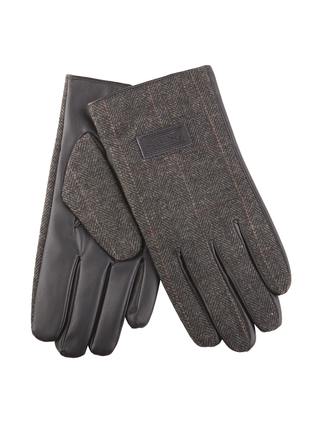 Mens Tweed Gloves - Grey Herringbone