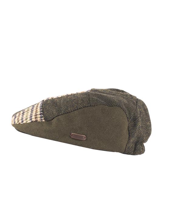 Heritage Patchwork Flat Cap – Multi Green Brown
