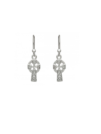 Sterling Silver Celtic Cross Drop Earrings