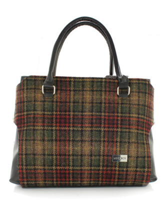 Emily Tweed & Leather Bag - Green & Rust Plaid