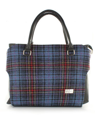 Emily Tweed & Leather Bag - Blue Red Plaid