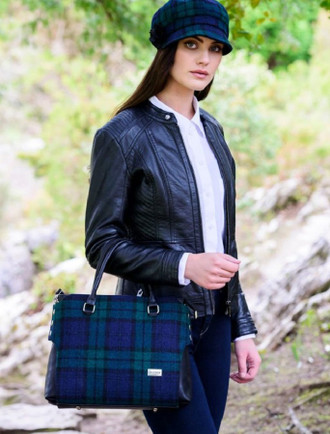 Emily Tweed & Leather Bag - Blackwatch
