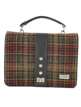 Fiona Tweed Bag - Green Rust Plaid