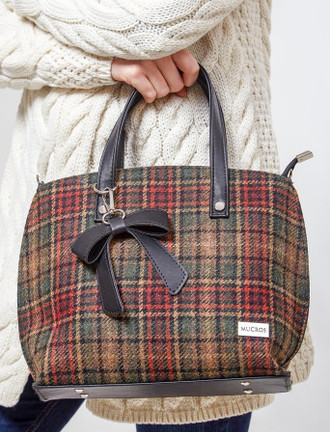 Niamh Tweed & Leather Bag - Green & Rust Plaid