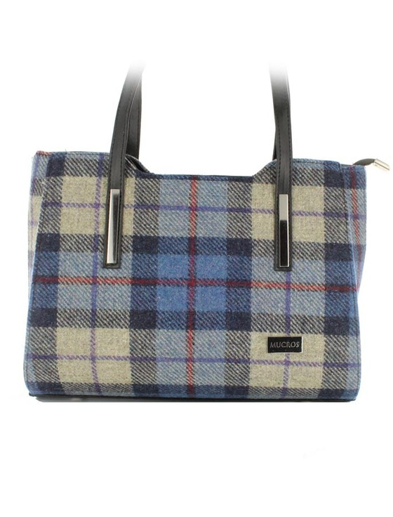 Brid Tweed & Leather Herringbone Bag - Blue Cream Plaid