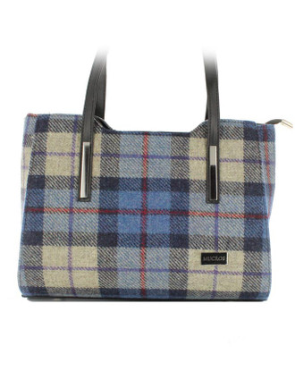 Brid Tweed & Leather Herringbone Bag - Blue Cream Plaid