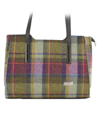 Brid Tweed & Leather Bag - Multi Vernal Plaid