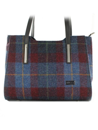 Brid Tweed & Leather Bag - Navy Red Plaid