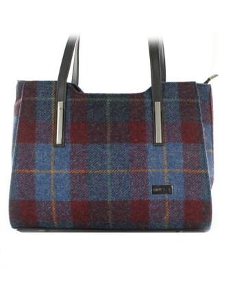 Brid Tweed & Leather Bag - Navy Red Plaid