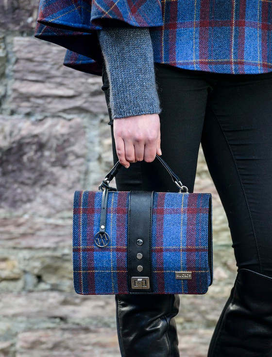 Fiona Tweed & Leather Bag - Navy Mustard & Red Plaid