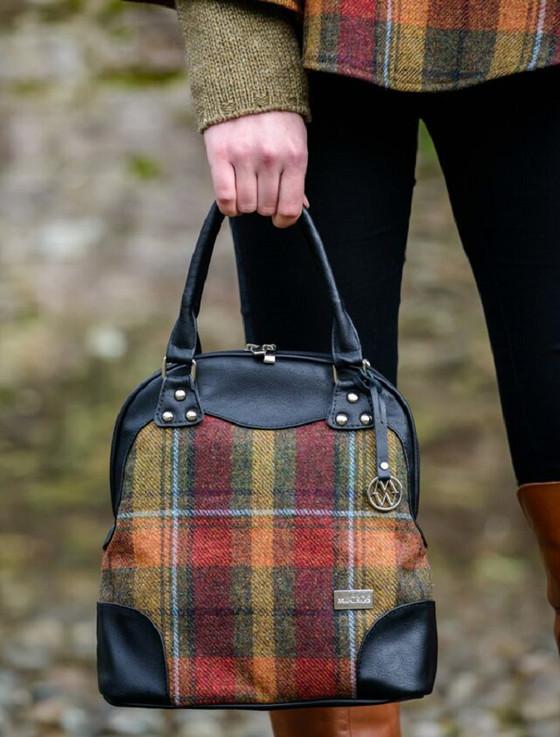 Abbie Tweed & Leather Bag - Orange & Rust Plaid