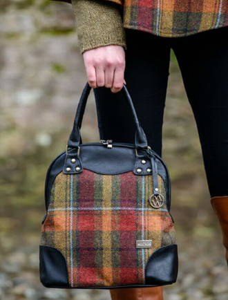 Abbie Tweed & Leather Bag - Orange & Rust Plaid