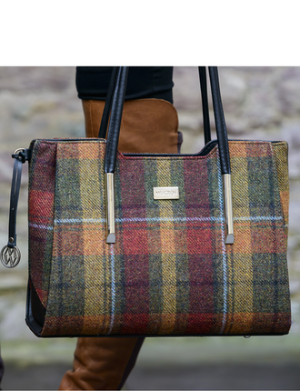 Brid Tweed & Leather Bag - Orange & Rust Plaid