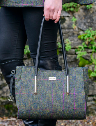Brid Tweed & Leather Bag - Forest Green Plaid