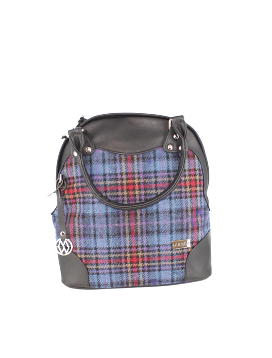Abbie Tweed & Leather Bag - Camel Red & Blue Plaid