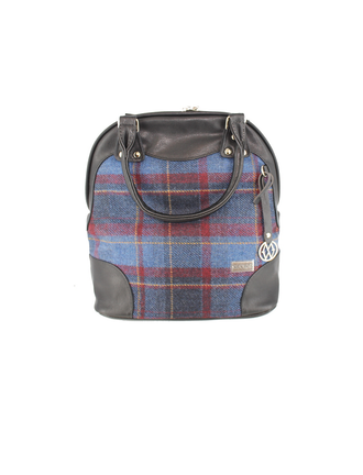 Abbie Tweed & Leather Bag - Navy, Mustard & Red Plaid