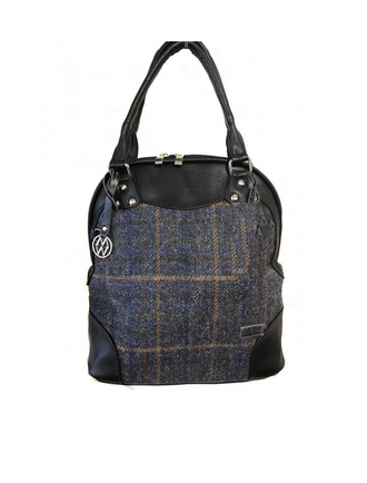 Abbie Tweed & Leather Bag - Navy, Green & Brown Plaid
