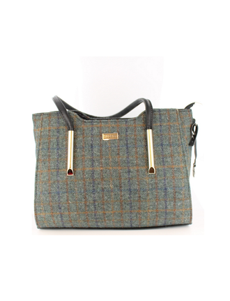 Brid Tweed & Leather Bag - Brown & Navy Plaid