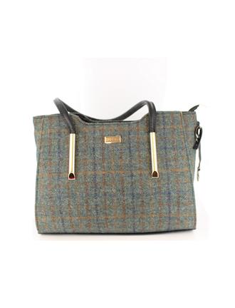 Brid Tweed & Leather Bag - Brown & Navy Plaid