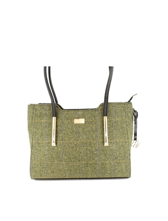 Brid Tweed & Leather Bag - Light Green Herringbone