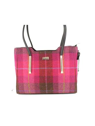 Brid Tweed & Leather Bag - Pink Plaid