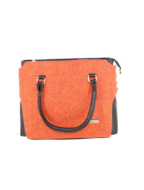 Emily Tweed & Leather Bag - Rust