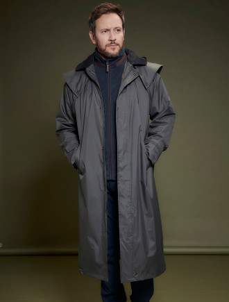 Donegal Mens Waterproof Long Bush Coat - Olive