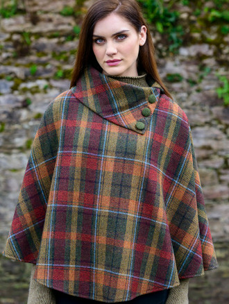 Mucros Poncho - Rust Orange Plaid