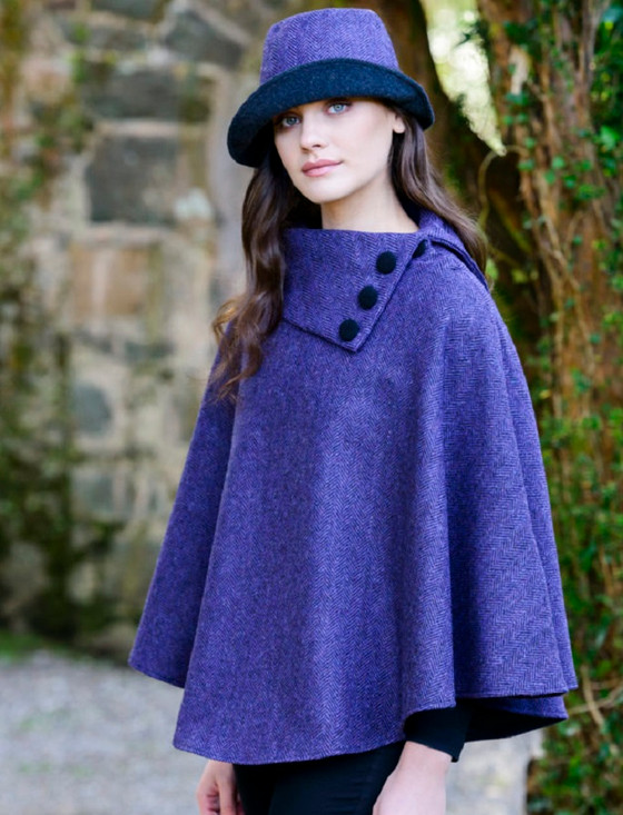 Mucros Poncho - Purple Herringbone