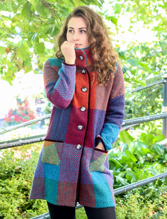 Emma Tweed Herringbone Coat - Multi-Mulberry