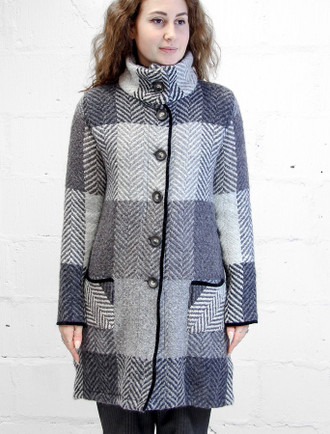 Emma Tweed Herringbone Coat - Dove & Grey