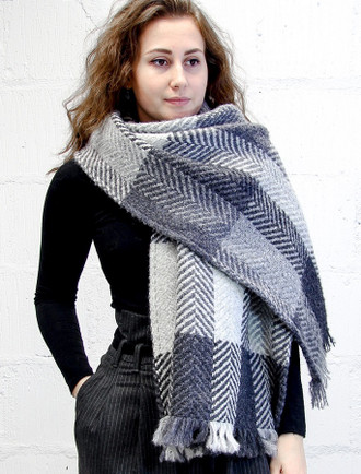 Wool Country Stole - Multi-Grey