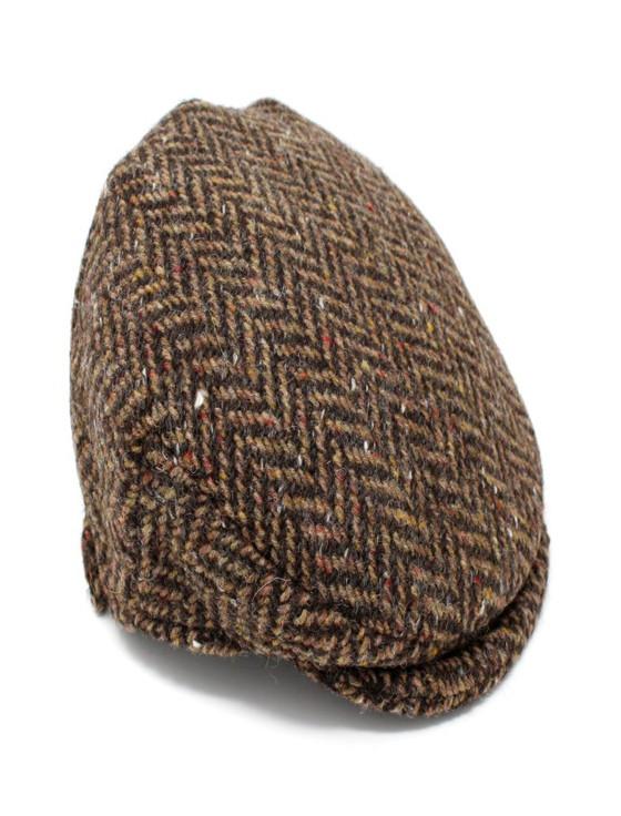 Children's Flat Cap Tweed - Brown Herringbone