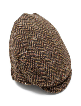 Children's Flat Cap Tweed - Brown Herringbone