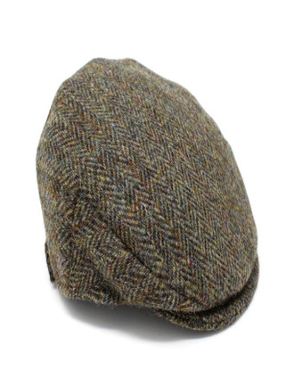 Children's Flat Cap Tweed - green Herringbone