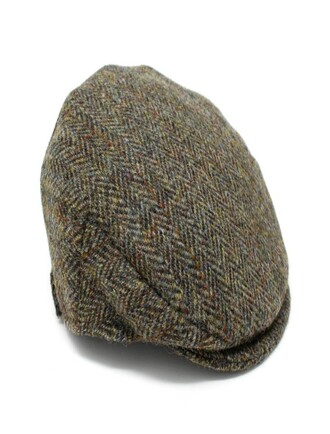 Children's Flat Cap Tweed - green Herringbone