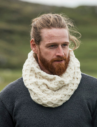 Aran Snood Scarf - White