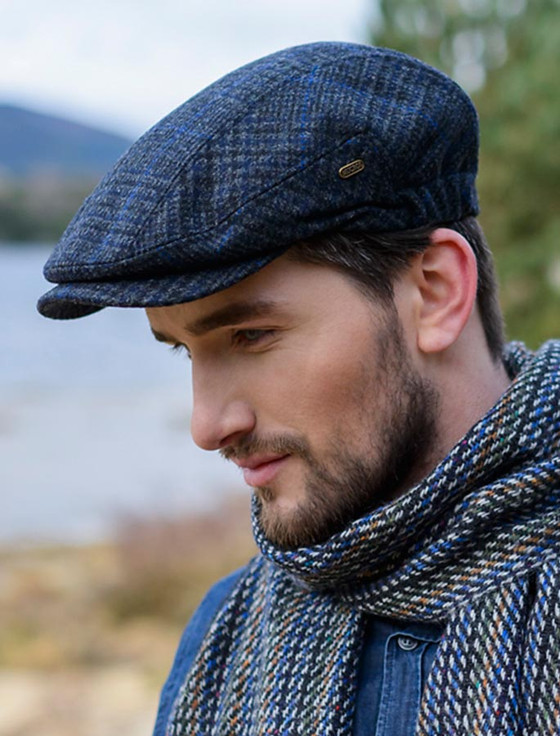 Kerry Tweed Flat Cap - Charcoal with Blue