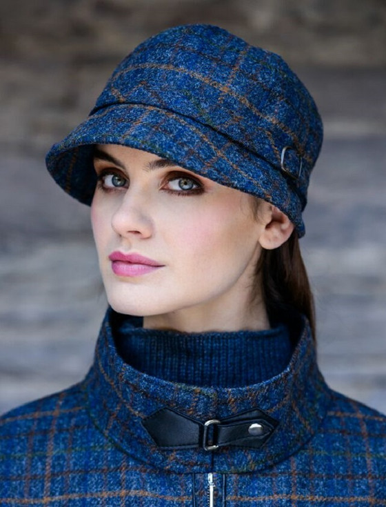 Ladies Tweed Flapper Cap - Navy , Green & Brown Checked