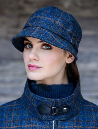 Ladies Tweed Flapper Cap - Navy , Green & Brown Checked