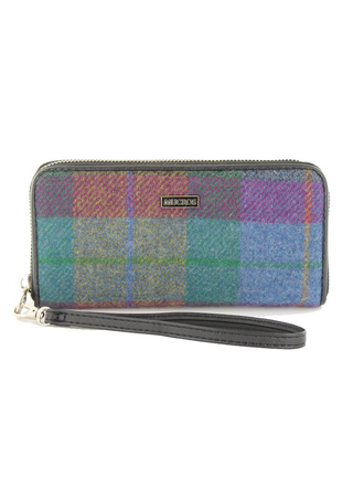 Mucros Tweed Purse- Sky Green & Red Plaid