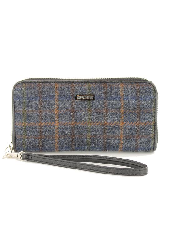 Mucros Tweed Purse- Navy Green & Brown Plaid