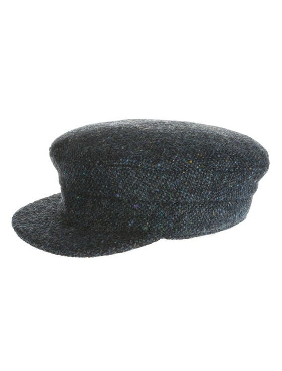 Tweed Skipper Cap- Navy Aqua Salt & Pepper