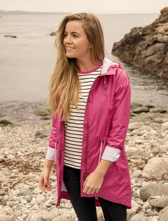 Kilmurvey Ladies 3/4 Waterproof Coat - Raspberry